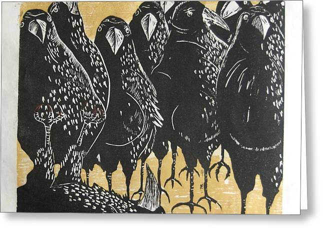 Flocks Of Birds Drawings Greeting Cards - A Murder of Crows Greeting Card by Andrew Jagniecki