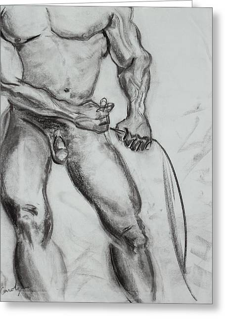 Physique Drawings Greeting Cards - A Muscular Man Greeting Card by Asha Carolyn Young
