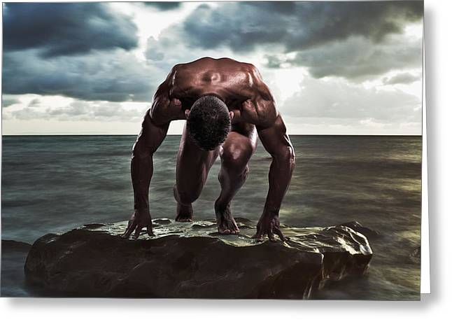 Ocean Images Greeting Cards - A Muscular Man In The Starting Position Greeting Card by Ben Welsh