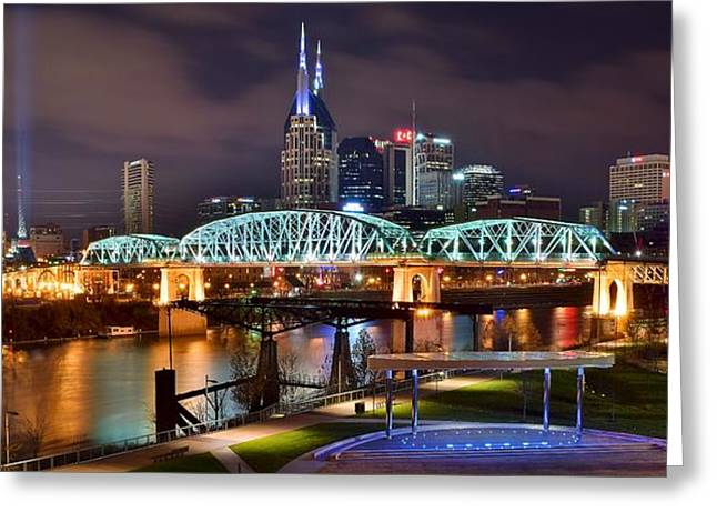 Inner World Greeting Cards - A Nashville Panoramic Night Greeting Card by Frozen in Time Fine Art Photography