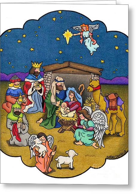 Winter Night Drawings Greeting Cards - A Nativity Scene Greeting Card by Sarah Batalka