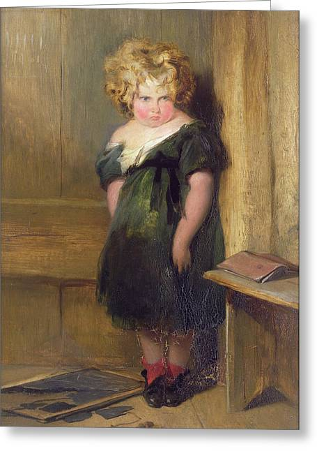 Curly Hair Greeting Cards - A Naughty Child Greeting Card by Sir Edwin Landseer