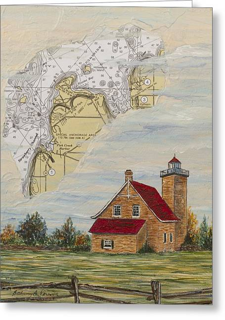 Eagle Bluff Lighthouse Greeting Cards - A Nautical View of Eagle Bluff Lighthouse Greeting Card by Bethany Kirwen