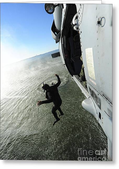 Hovering Greeting Cards - A Naval Air Crewman Jumps From An Greeting Card by Stocktrek Images