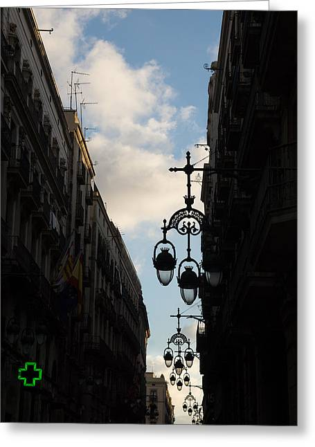 Streetlight Greeting Cards - A Necklace of Barcelona Streetlamps Greeting Card by Georgia Mizuleva