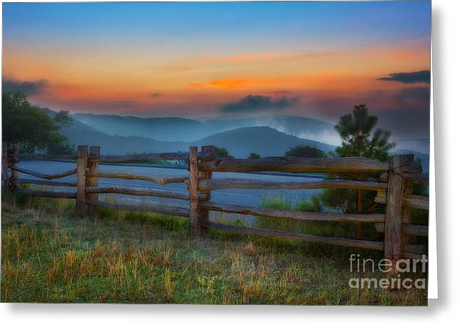 Split Rail Fence Greeting Cards - A New Beginning - Blue Ridge Parkway Sunrise I Greeting Card by Dan Carmichael