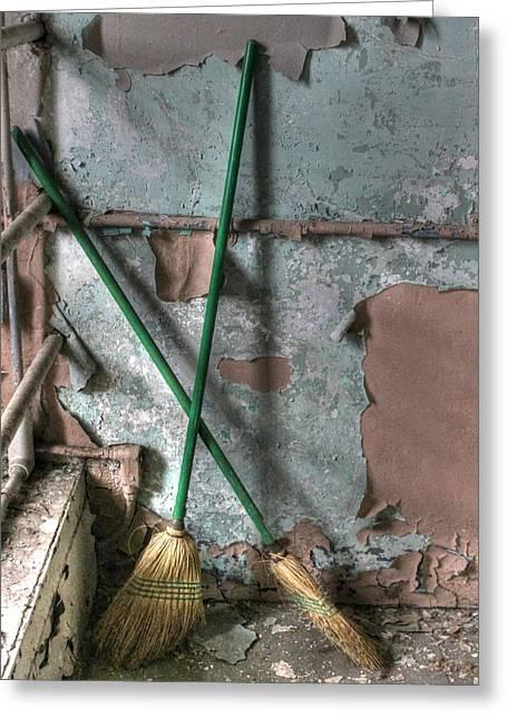 Broom Broom Greeting Cards - A New Broom Sweeps Clean Greeting Card by Jane Linders