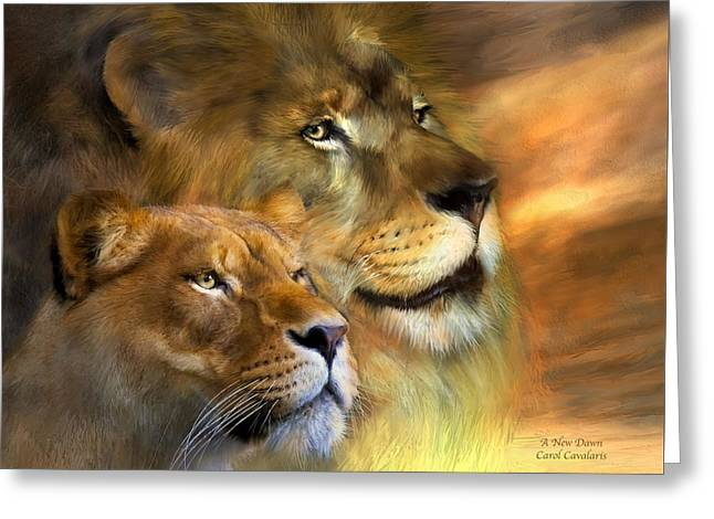 Big Cat Art Greeting Cards - A New Dawn Greeting Card by Carol Cavalaris