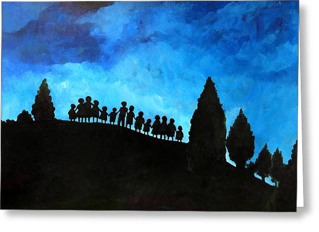Fir Trees Paintings Greeting Cards - A New Dawn Rising Greeting Card by Patricia Brintle