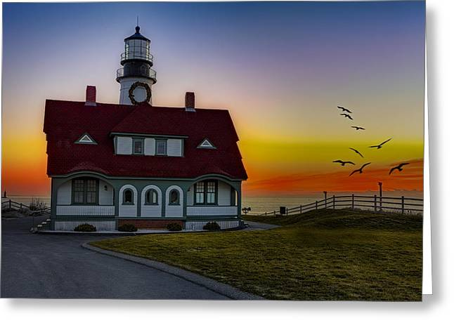 Portland Harbor Greeting Cards - A New Day At Portland Head Light Greeting Card by Susan Candelario