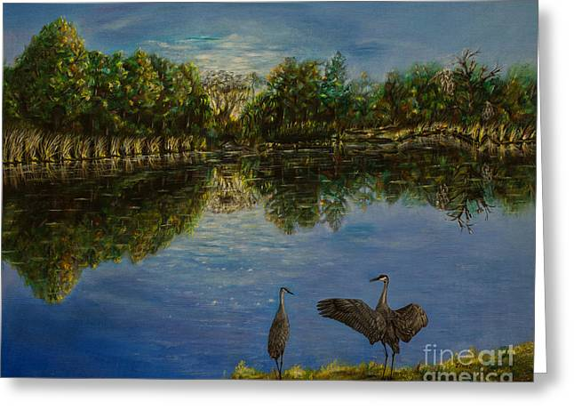 Birds Paintings Greeting Cards - A new day begins Greeting Card by Zina Stromberg