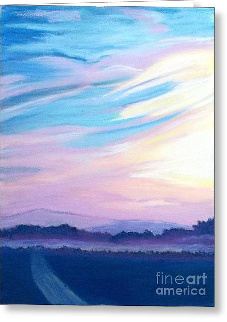 Dream Scape Pastels Greeting Cards - A New Day on A New Road Greeting Card by Frank Giordano