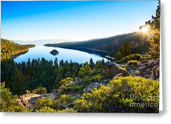 Sunset Bay State Park Greeting Cards - A New Day over Emerald Bay Greeting Card by Jamie Pham