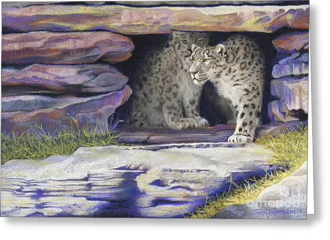 Snowed Trees Pastels Greeting Cards - A New Day - Snow Leopards Greeting Card by Tracy L Teeter