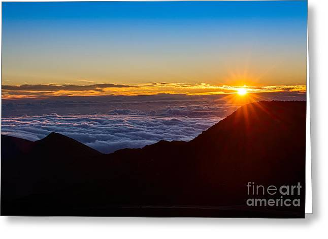 Above The Clouds Greeting Cards - A New Day - summit of Haleakala Volcano in Maui. Greeting Card by Jamie Pham