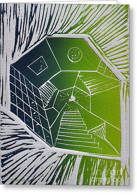 Linocut Mixed Media Greeting Cards - A New Dimension blue and green linocut Greeting Card by Verana Stark