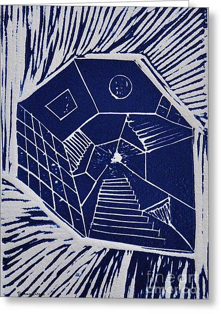 Linocut Mixed Media Greeting Cards - A New Dimension blue linocut Greeting Card by Verana Stark