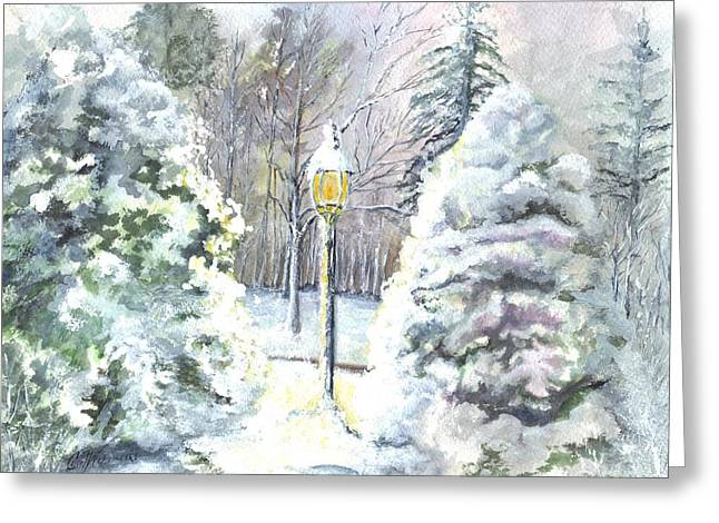 Snowy Night Drawings Greeting Cards - A Warm New Jersey Winter Welcome  Greeting Card by Carol Wisniewski