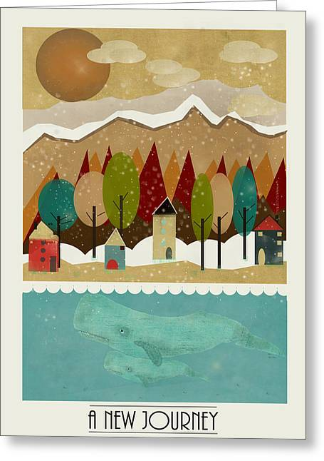 Whale Digital Greeting Cards - A New Journey Greeting Card by Bri Buckley