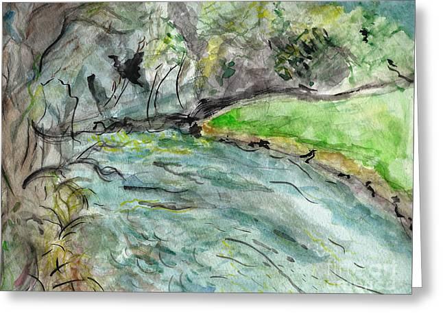 Spring River Morning Greeting Card by Elizabeth Briggs