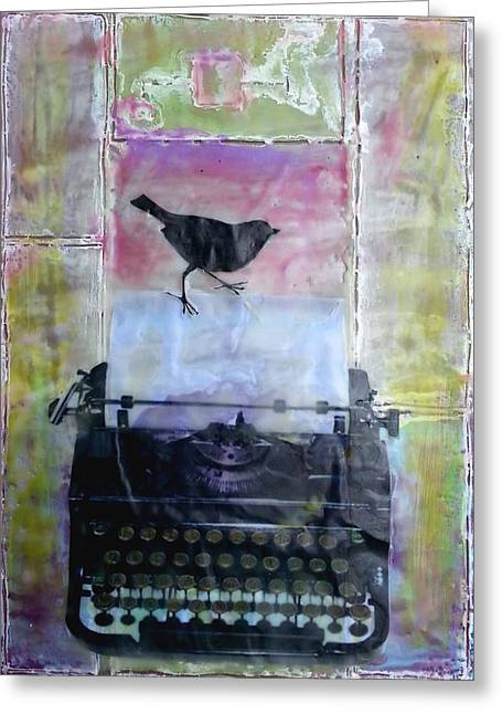 Typewriter Mixed Media Greeting Cards - A New Page Greeting Card by Courtney Putnam