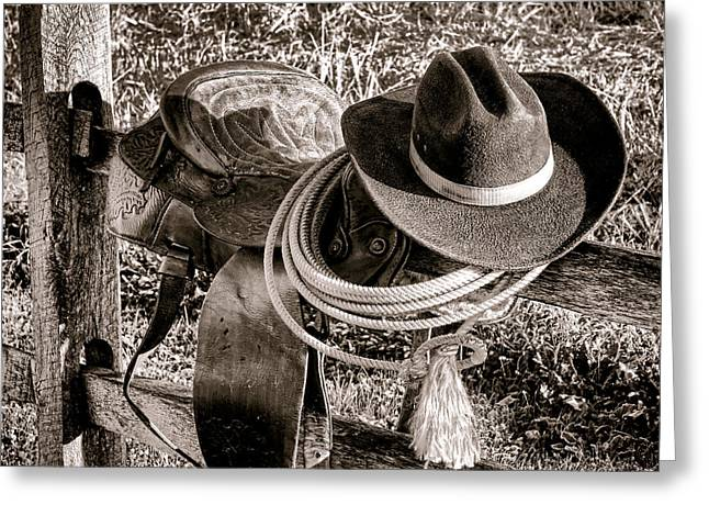 Rodeo Photographs Greeting Cards - A New Workday for the Cowboy Greeting Card by Olivier Le Queinec