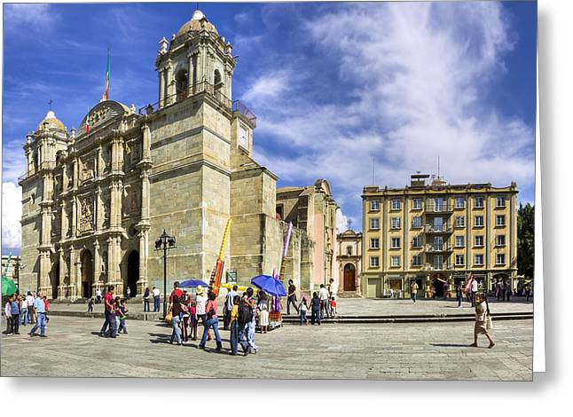 Oaxaca Greeting Cards - A New Year Dawns at Oaxca Cathedral Greeting Card by Mark Tisdale
