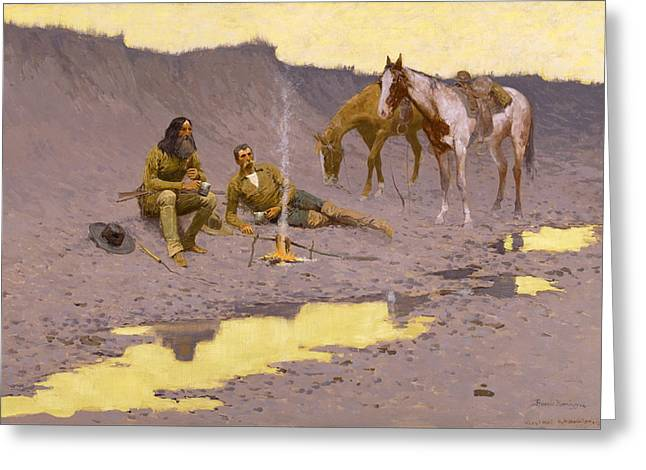 Remington Greeting Cards - A New Year on the Cimarron Greeting Card by Frederic Remington