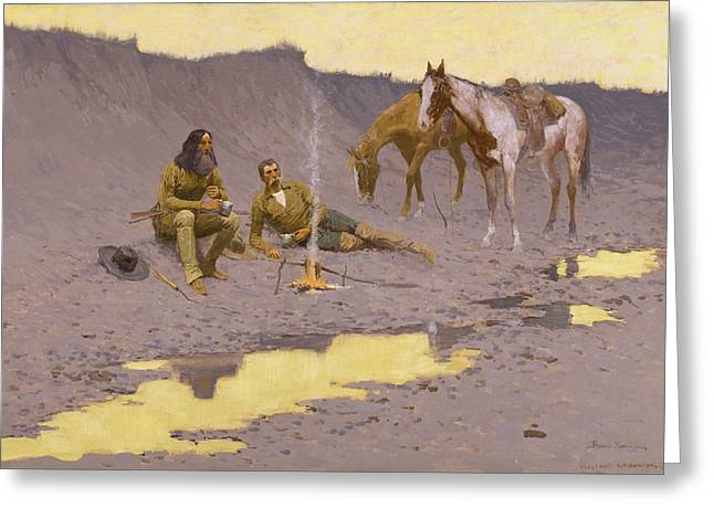 A New Year on the Cimarron Greeting Card by Fredrick Remington