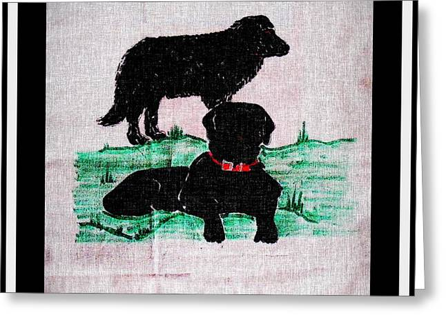 Working Dog Drawings Greeting Cards - A Newfoundland Dog and A Labrador Retriever Greeting Card by Barbara Griffin
