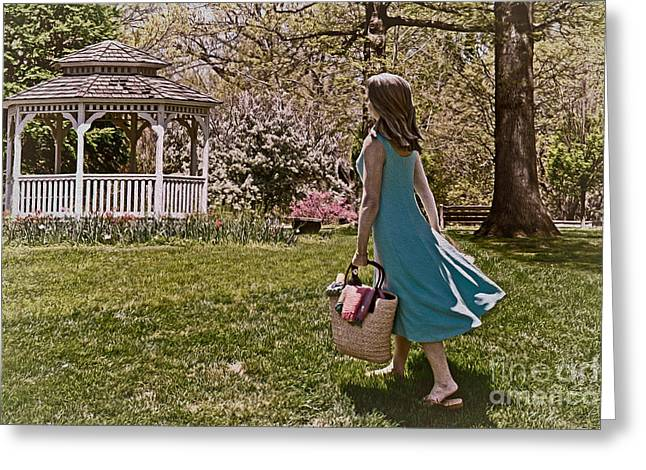 Gazebo Wall Art Greeting Cards - A Nice Day For A Picnic Greeting Card by Tom Gari Gallery-Three-Photography