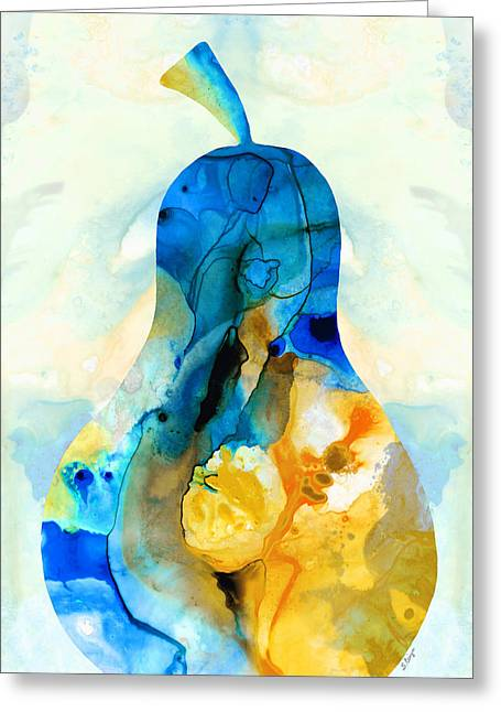 Dine Mixed Media Greeting Cards - A Nice Pear - Abstract Art By Sharon Cummings Greeting Card by Sharon Cummings