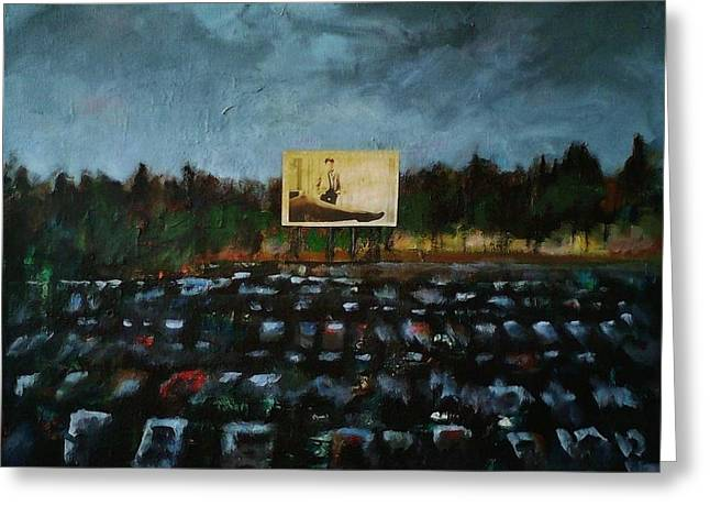 Drive In Movies Greeting Cards - A Night at The Drive In Greeting Card by Frances Marino