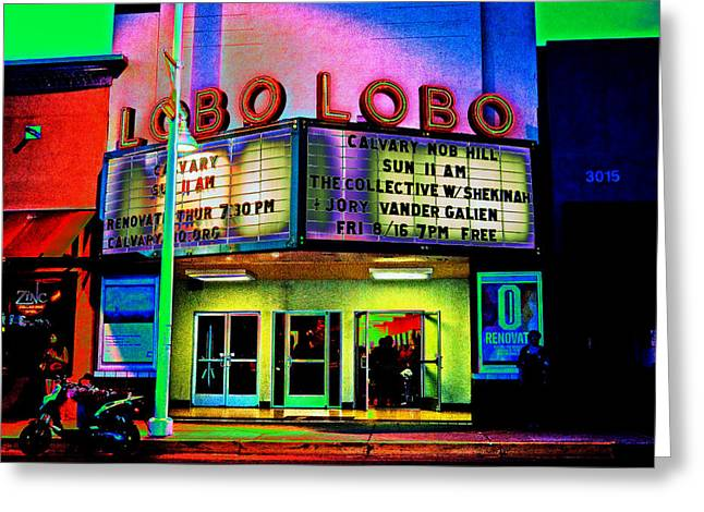 Purple Awnings Greeting Cards - A Night at the LOBO Greeting Card by Don Durante Jr