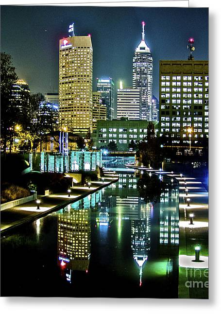 Indiana Landscapes Greeting Cards - A Night In Indianapolis  Greeting Card by Jose Sanchez