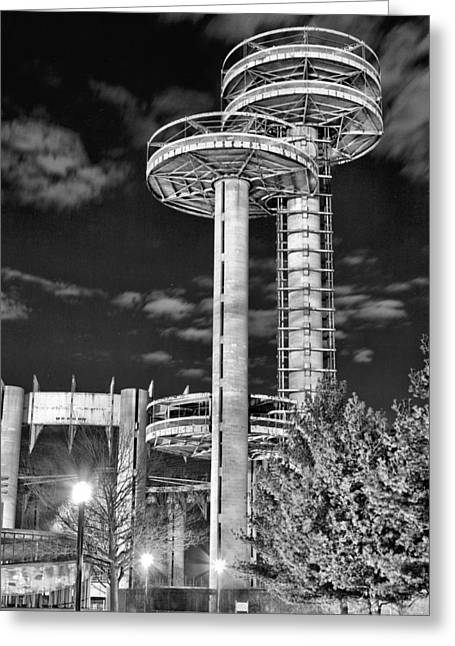 Flying Saucers Greeting Cards - A Night in Queens BW Greeting Card by JC Findley