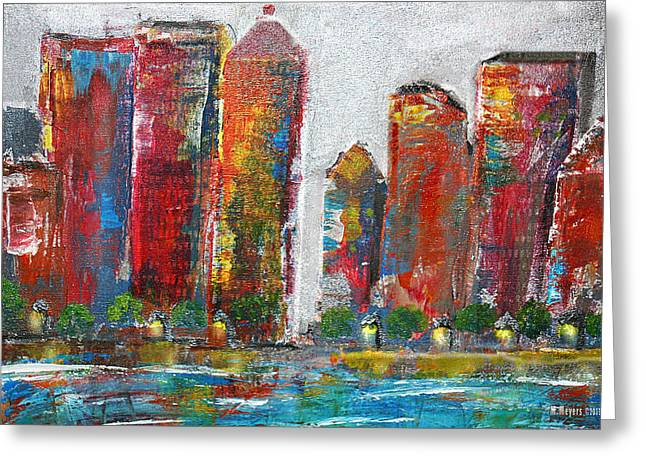 City Buildings Greeting Cards - A Night In The City Greeting Card by Melisa Meyers