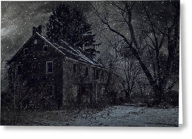Abandoned Houses Greeting Cards - A Night Left Behind Greeting Card by Kim Zier