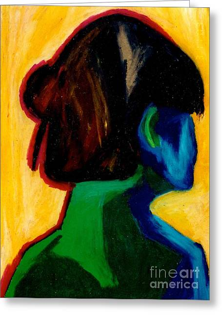Young Lady Pastels Greeting Cards - A night out Greeting Card by Jon Kittleson
