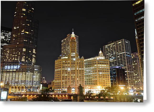 Chicago Bulls Greeting Cards - A Night over the Chicago River Greeting Card by Frozen in Time Fine Art Photography