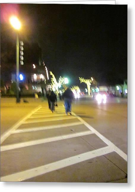 Guy Ricketts Photography Greeting Cards - A Night Walk in the Street Greeting Card by Guy Ricketts