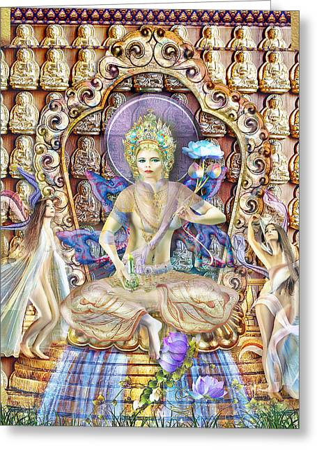 Tibetan Buddhism Mixed Media Greeting Cards - A Noble Lady of Life and Enjoyment Greeting Card by Wordmarque Design and Photography