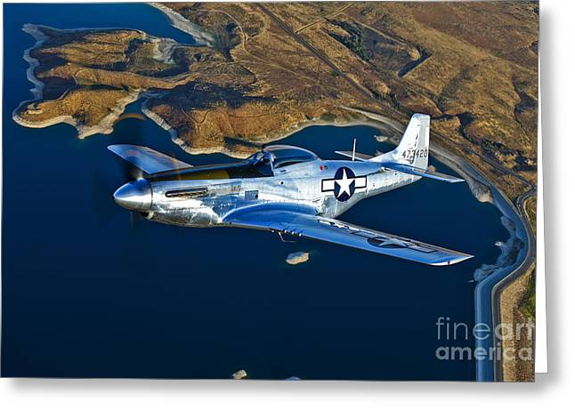 North American Aviation Greeting Cards - A North American P-51d Mustang Flying Greeting Card by Scott Germain