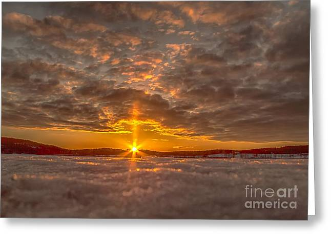 Sunset In Norway Greeting Cards - A Norwegian sunset Greeting Card by Rose-Maries Pictures