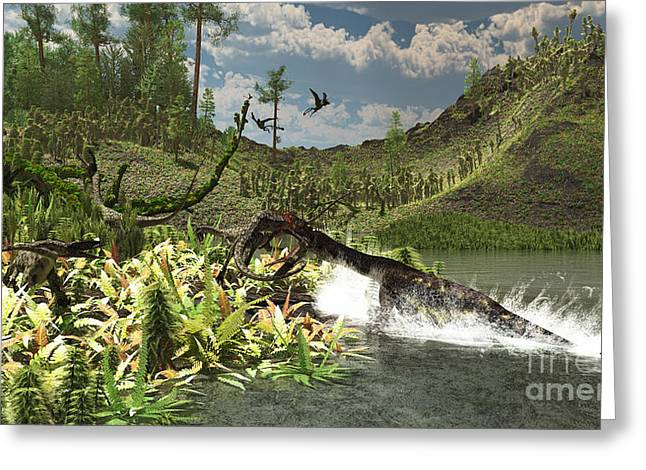 Paleoart Greeting Cards - A Nothosaurus Catches An Unware Greeting Card by Arthur Dorety