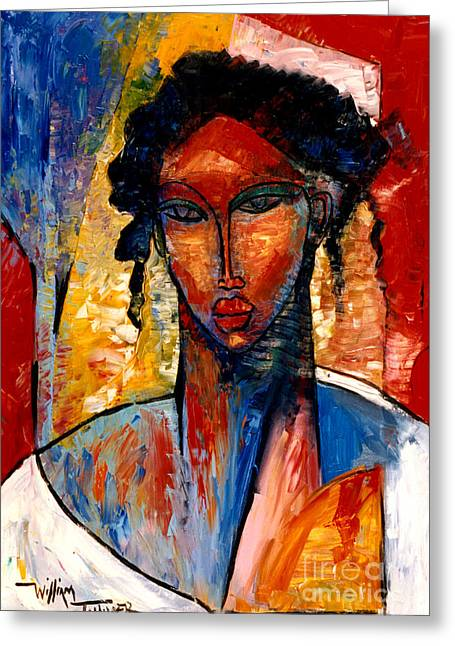 Contemporary Art Paintings Greeting Cards - A Nubian Lady Greeting Card by William Tolliver