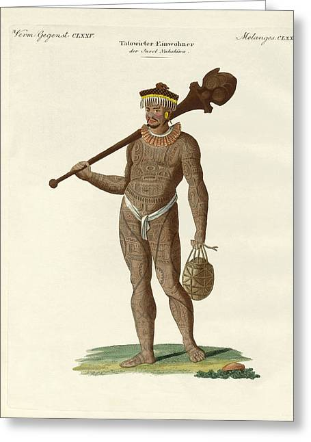 Tattoo Culture Greeting Cards - A Nukahiwans with bat and calabashes Greeting Card by Splendid Art Prints