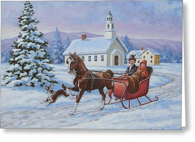 Gaiting Greeting Cards - A One Horse Open Sleigh Greeting Card by Richard De Wolfe