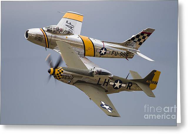 Heritage Foundation Greeting Cards - A P-51 Mustang And F-86 Sabre Greeting Card by Rob Edgcumbe