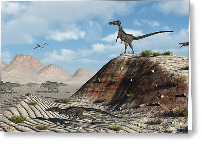 Dromaeosaurid Greeting Cards - A Pack Of Velociraptors Stalking A Herd Greeting Card by Mark Stevenson